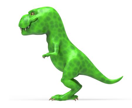 A large green dinosaur TIREX. 3D illustration on white background