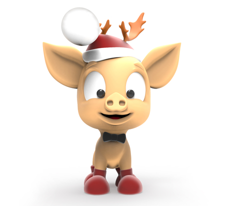 Piglet, a symbol of 2019, in the Santa hat. 3d illustration isolated on white background