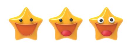Smiling happy star emoji icon. 3D image