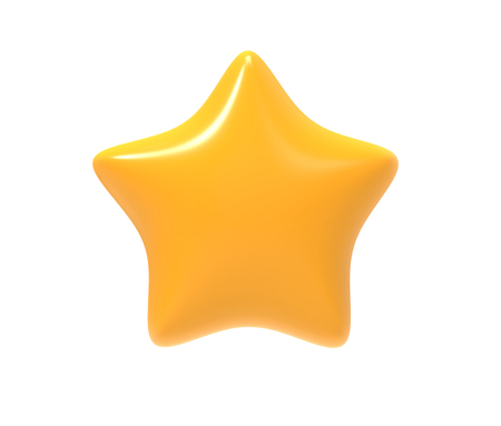 Yellow star. 3D symbol isolated on white background