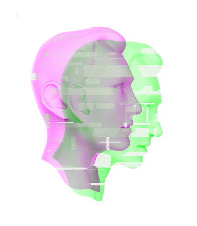 3d portrait of a man with glitch effect. Isolated on white