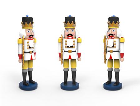 Christmas vintage wooden nutcracker toys. 3D image on white background 版權商用圖片