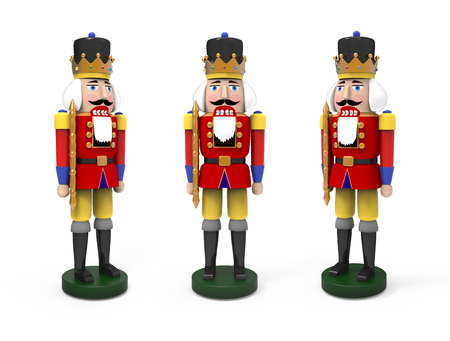 Christmas vintage wooden nutcracker toys. 3D image on white background Stock Photo