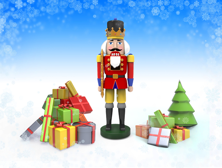 Christmas illustration with wooden nutcracker toy and gifts. 3D image with place for your text