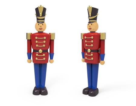 Christmas vintage wooden soldier toys. 3D image on white background 版權商用圖片