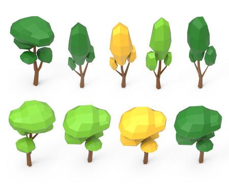 Set of geometric polygonal 3d trees on white background