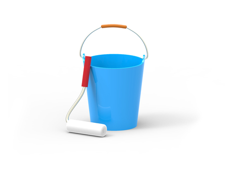 Work tools. Bucket and paint roller. 3D image isolated on white background.