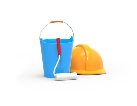 Work tools. Bucket, paint roller and helmet. 3D image isolated on white background. 版權商用圖片