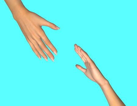 Helping hand. 3D render 版權商用圖片