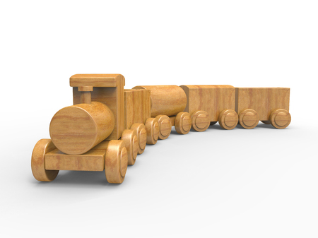 Wooden train toy isolated on white background with shadow. 3D image
