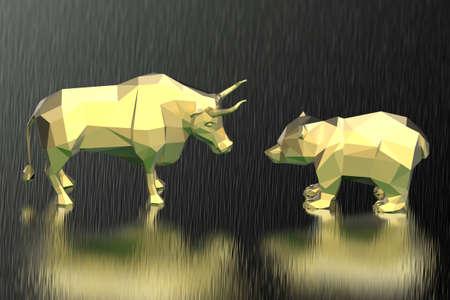 Golden polygonal bull and bear with dark background. 3D illustration