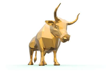 3D polygonal golden bull isolated on white 版權商用圖片