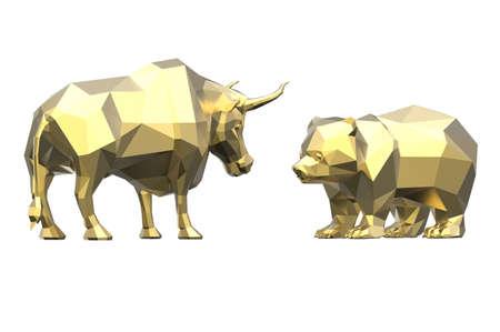 Golden polygonal bull and bear isolated on white background. 3D illustration