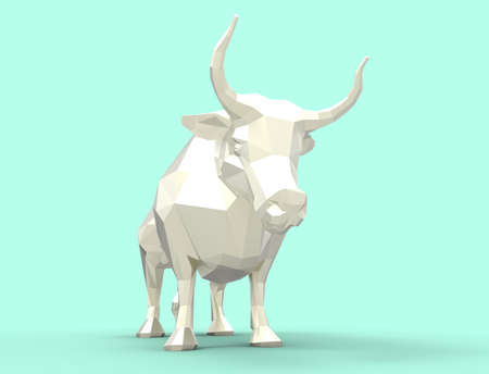 3D illustration. White bull - symbol of 2021 版權商用圖片