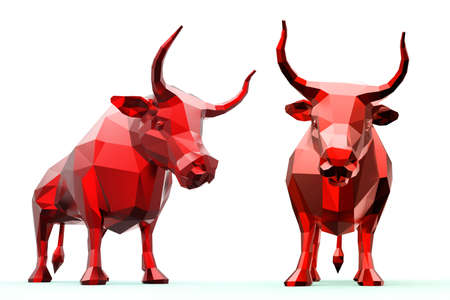 3D polygonal red bull isolated on white background.