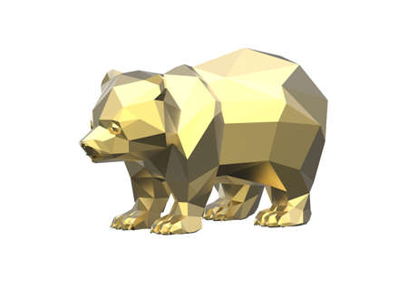 Golden polygonal bear isolated on white background. 3D illustration