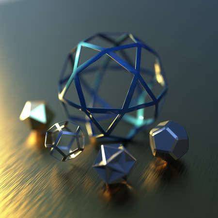 Abstract futuristic 3d render with geometric figures. Contemporary sci-fi image with bokeh effect.
