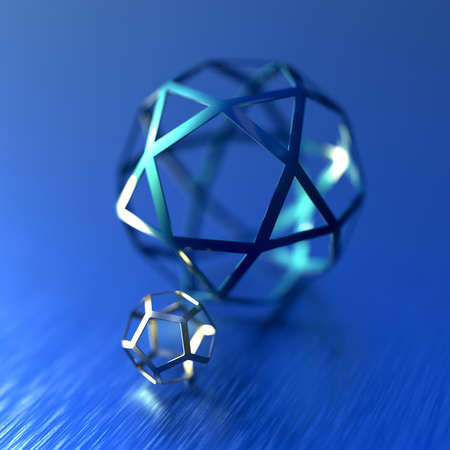 Abstract futuristic 3d render with pentagon spheres. Contemporary sci-fi image with bokeh effect.