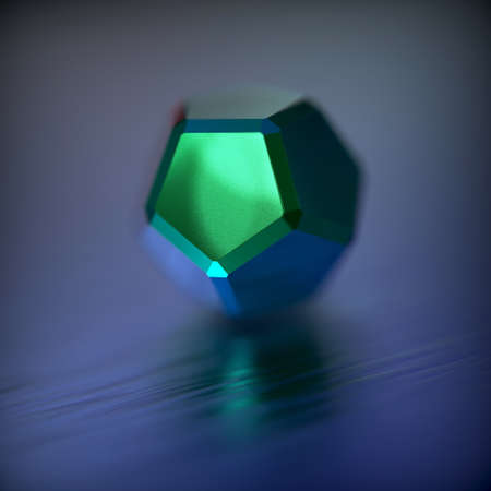 Abstract futuristic 3d render with geometric figure - Dodecahedron. Contemporary sci-fi image with bokeh effect.