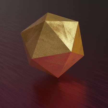 Abstract 3d render with geometric figure - Icosahedron. 版權商用圖片