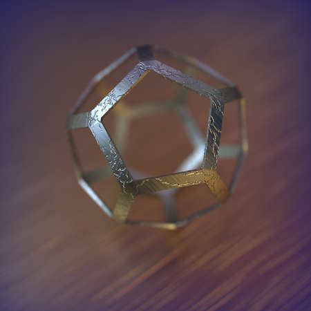Abstract futuristic 3d render with pentagon spheres.