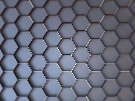 3D background with geometric ornament. Hexagons