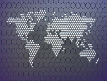 Abstract world map in hexagon