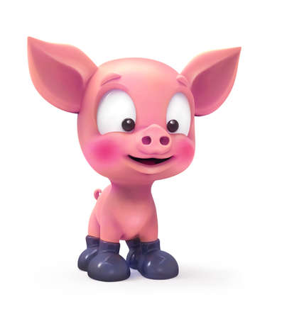 A little pig in rubber boots isolated on white 版權商用圖片