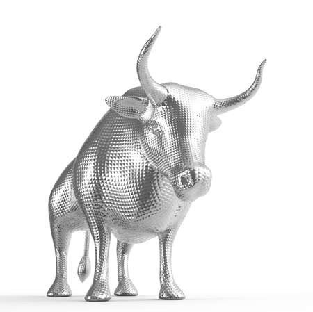3D Metal bull isolated on white background