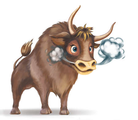 Image of a bull, symbol of 2021, on a white background