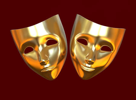 Golden theater masks, drama and comedy on a red background. 3D image. 版權商用圖片