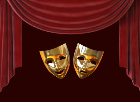 Golden theater masks, drama and comedy on a red curtain. 3D image