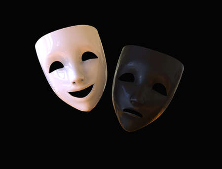 Black and white theater masks, drama and comedy on a dark background. 3D image.