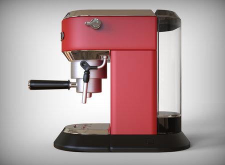 Side vew of a red espresso coffee machine on a white background. 3D render. 版權商用圖片
