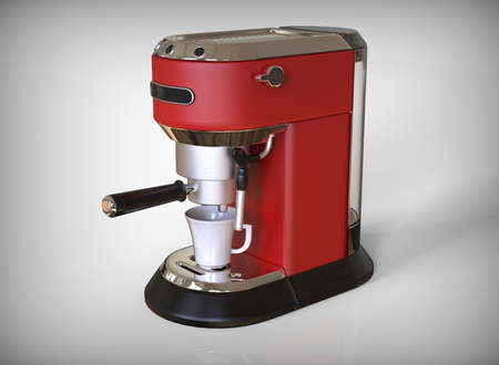 A red espresso coffee machine on a white background. 3D render.
