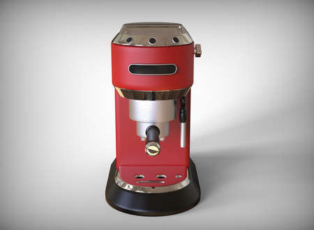 Front vew of red espresso coffee machine on a white background. 3D render.