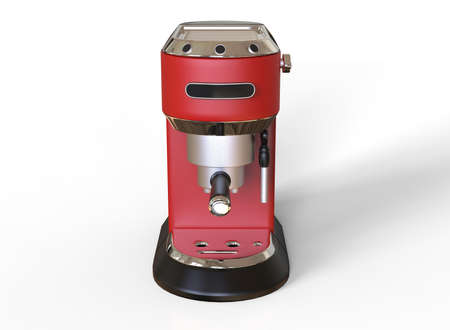 Front vew of a red espresso coffee machine on white background. 3D render.