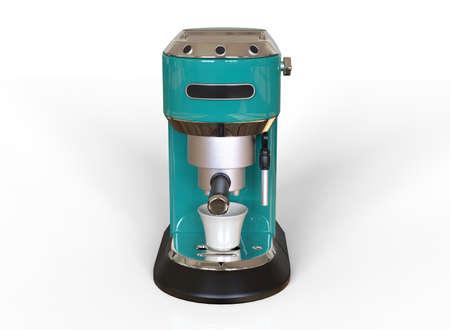 Front vew of a virid espresso coffee machine on white background. 3D render.