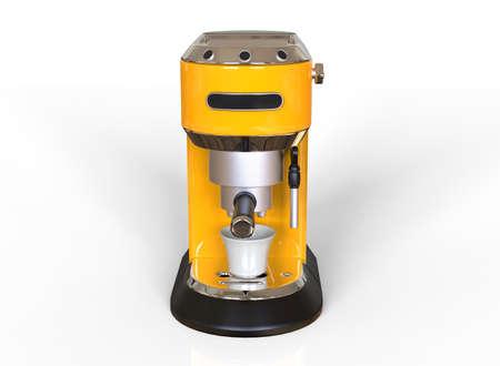 Front vew of a yellow espresso coffee machine on white background. 3D render.