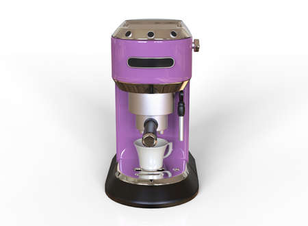 Front vew of a pink espresso coffee machine on white background. 3D render.