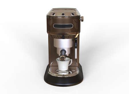 Front vew of a brown espresso coffee machine on white background. 3D render. 版權商用圖片