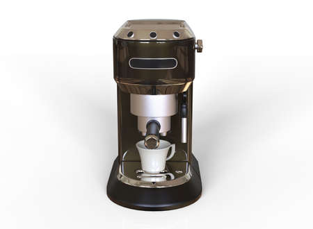 Front vew of a black espresso coffee machine on white background. 3D render.