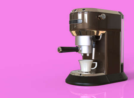 A brown espresso coffee machine on pink background with space for text. 3D render.