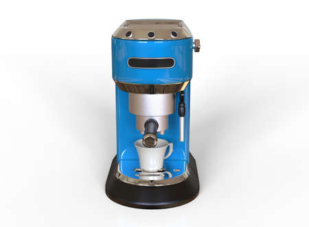 Front vew of a blue espresso coffee machine on white background. 3D render.