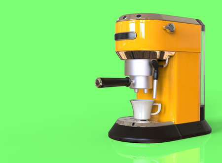 A yellow espresso coffee machine on green background with space for text. 3D render.