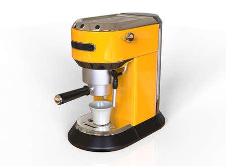 A yellow espresso coffee machine on a white background. 3D render. 版權商用圖片