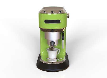 Front vew of a light green espresso coffee machine on white background. 3D render. 版權商用圖片