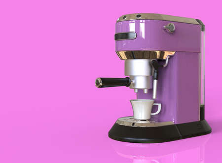 A lilac espresso coffee machine on pink background with space for text. 3D render.