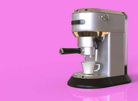 A silver espresso coffee machine on pink background with space for text. 3D render.
