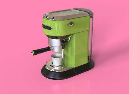A green espresso coffee machine on pink background. 3D render.